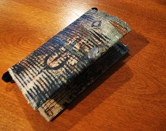 Canvas Business Card Holder or Wallet OOAK Painted Textile Wallet in Black and Blue Circles and Stripes