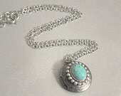 Silver Locket Turquoise Locket Vintage Silver Locket Turquoise Necklace Antiqued Silver Locket Locket Necklace Locket Jewelry