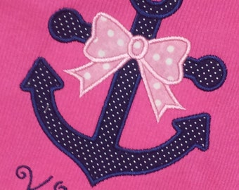 Nautical Anchor Girls Sailor Shirt Boutique Custom Personalized Name Included