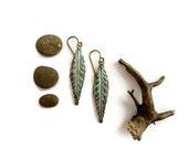 Olive, Verdigris Leaf Earrings, Patina Earrings Dangle Rustic Nature Earrings Green Leaf Earrings, Gardener, Naturalist