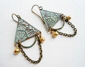 Green Triangle Earrings, Primitive, Tribal, Egyptian Pyramid, Dollar Bill, Verdigris Patina, Rustic, Chain, Dangles, Boho, Bohemian,