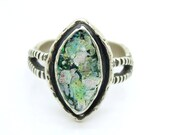 Silver & Roman glass ring oval shaped