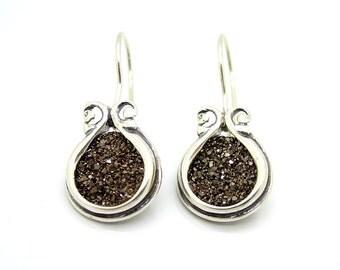 Druzy earrings in sterling silver