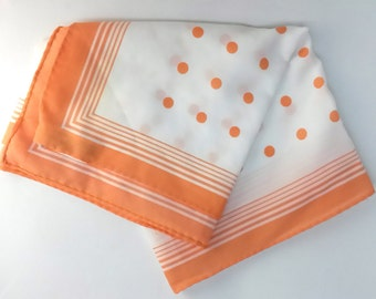 NASHARR FRIERS VINTAGE mod peach scarf, polka dots, stripes, 1960s polyester