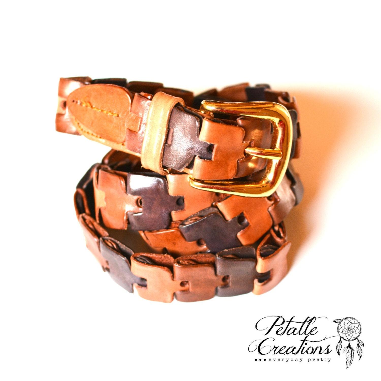 boho belt leather link belt southwestern belt leather belt