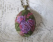 Hydrangeas necklace, Medium Oval pendant, Embroidered jewelry, Flower necklace, Hand Embroidery