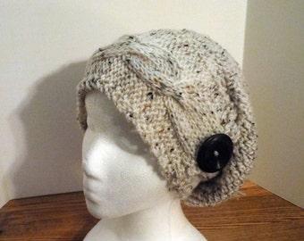 Knit Headband Crochet Slouch Hat Pattern Aran Fleck Yarn Women Men Teens Adult Winter All Season Slouchy Button Gift
