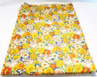 Vintage Concord fabric by Sharon Kessler Cat daisy fabric 1.5 yards new old stock made in the USA