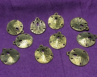 Sand Dollar Pewter Charms Gold Plated