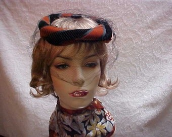 Sale  Halo fascinator hat of brown and black velvet with face veil