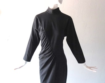 1980s Black Wool Shirred Jersey Dress by Anna Calamia - New York Designer 80s - Size SM to Med  2 4 6 - Asymmetrical Ruched Front & Back