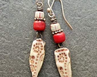 TRAIL - ceramic, trade beads, red, sterling silver, tribal, primitive, boho, chic, striped, earrings