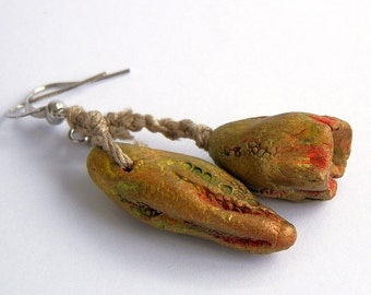 ceramic earrings, handmade ceramic beads, handmade ceramic beads, Jewelry beads, dangle, pods beads, cool vintage, jewelry art, unique,