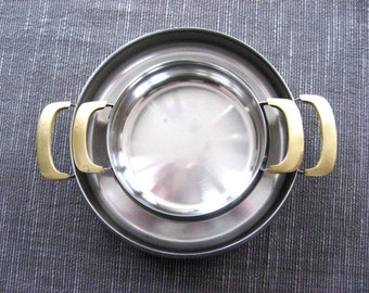 Swedish GAB Gense 18/8 Stainless and Brass MCM Nesting Dishes Cookware