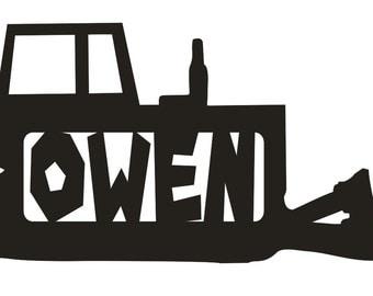Unfinished Wood Bulldozer Name Monogram 11.7 x 20 inch