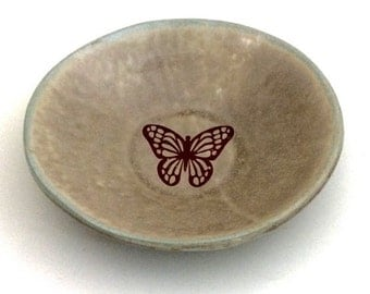 Handbuilt Ceramic Bowl with Butterfly Decal