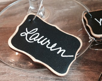 6 Mini Wood Chalkboard Wine Charms, Chalkboard Place Settings, Hostess Gifts, Perfect for Holiday Parties