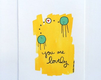 Greeting Card - You Are Lovely Valentine's Day Greeting Card Valentine Birthday Card Anniversary Card, blank inside card