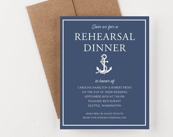 Nautical Rehearsal Dinner Invitation, Bridal Shower or Engagement Dinner Invitation