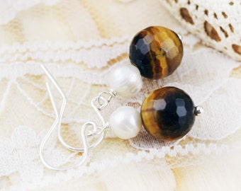 Purity and Wealth earrings - freshwater pearl and tiger eye