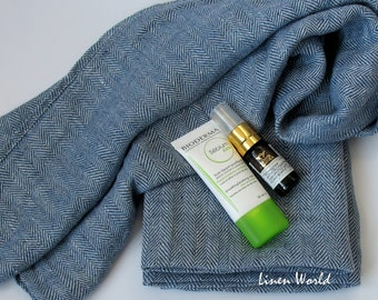 100% LINEN Tea Towel. Softened Pre-washed Blue Herringbone Linen Face Towel / Guest Towel / Kitchen Towel / Hand Towel. Natural Flax Towels
