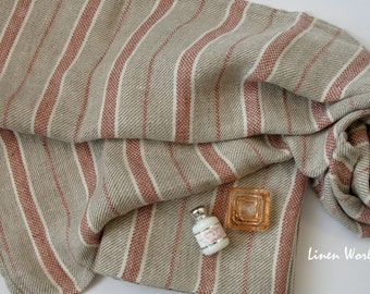 Pure LINEN Guest Towel. Softened Pre-washed Linen Hand Towel / Face Towel. Grey Red Striped Linen Towels. Rustic Natural Flax Towels. Gifts