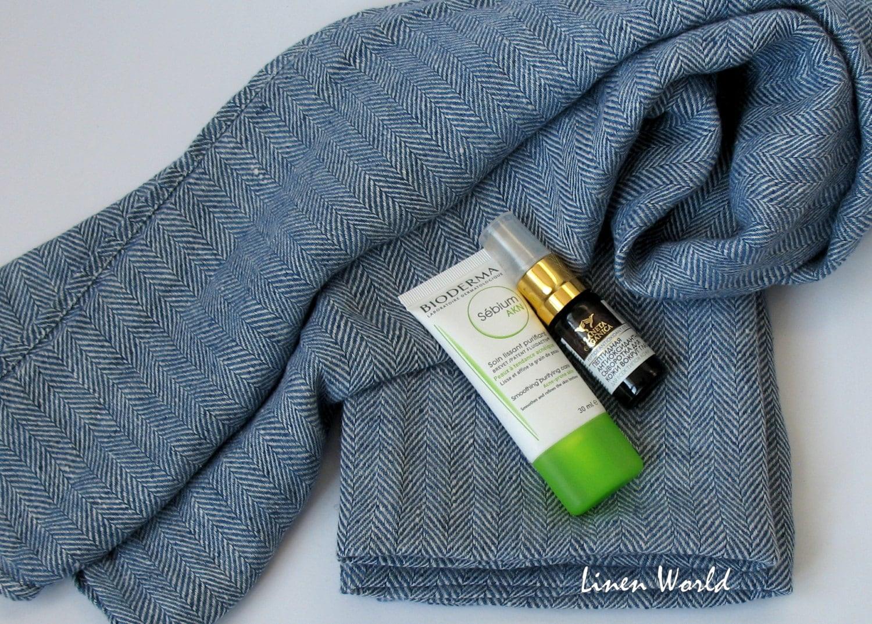 100 linen tea towel softened pre washed blue herringbone. Black Bedroom Furniture Sets. Home Design Ideas