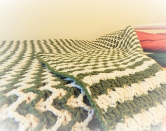 Pine and Snow Afghan - Green & White Zigzag and Horizontal Stripes
