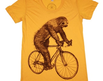 Womens SLOTH bicycle T Shirt - xs s m l xl - Heather Gold