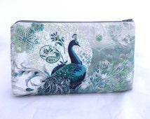 Bridesmaids Gift Peacock Bag in Teal and Silver-  Great Handbag or Cosmetic bag