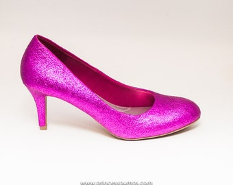Glitter Hot Fuchsia Pink High Heels Pumps Custom Shoes