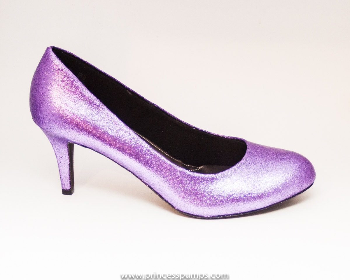 Glitter lavender purple high heels pumps custom by princesspumps