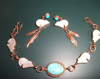 Vintage Sterling Silver Copper Native American Turquoise & MOP Mother Of Pearl Bear Bracelet And Earrings Demi Parure Signed