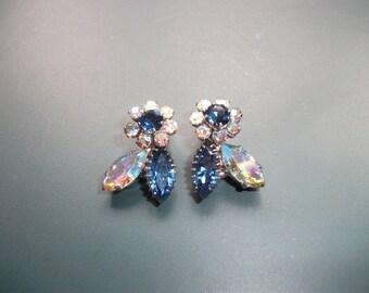 Vintage Signed Triad Blue Glass AB Aurora Borealis Flower Clip On Earrings