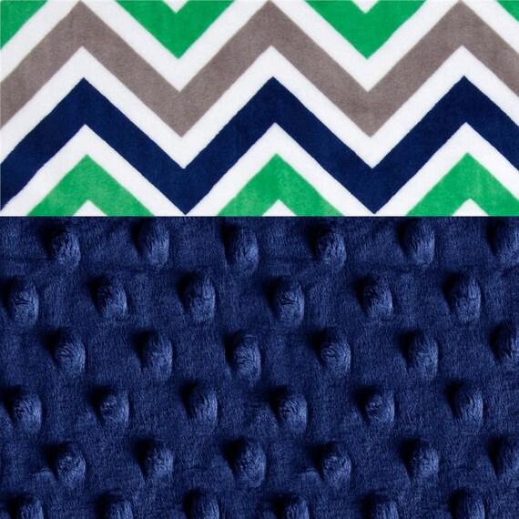Minky Blanket Boy // Blue Green Gray Chevron Personalized Baby Blanket // Chevron Baby Blanket // Baby Shower Gift // Stroller Blanket