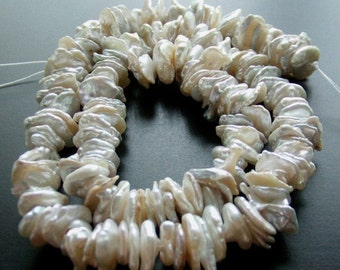 SALE, Keishi freshwater pearl, Keishi, Pearl, Cream, Beige, Bead, Strand, Heishi, Jewelry Making