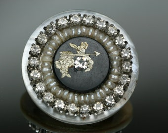 Shell, Rhinestone and Freshwater Pearl Button Brooch- Antique Button