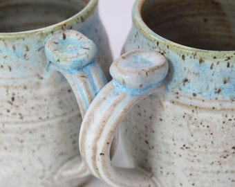 Pair of 2 Ceramic Mugs  - MADE TO ORDER Turquoise and Matt Cream on speckled clay with Thumb Rest Made To Order