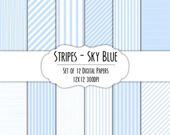 Sky Blue Stripes Digital Scrapbook Paper 12x12 Pack - Set of 12 - Instant Download - Item#8211