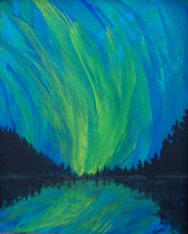 Acrylic painting aurora borealis northern lights paintings for Lights for paintings
