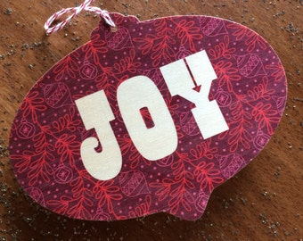 Joy Bulb Real Wood Holiday Card Ornament - Real Birch Wood Christmas Card - JOY - WC2201