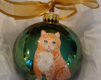 Tabby Kitten Kitty Orange Cat Hand Painted Christmas Ornament - Can Be Personalized with Name