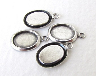 Cameo Setting Antiqued Silver Ox Frame Cabochon Bezel Vintage Style 8x6mm set0319 (6)