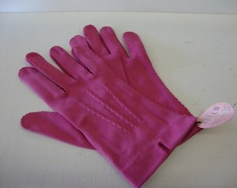 vintage dark pink gloves