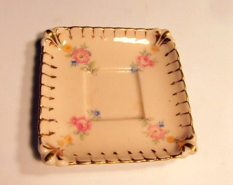 Stafford Minature Collectable Square Plate With PInk Flowers