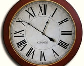 Large Wall Clock 30in MANCHESTER Linen w/ frame Gallery Antique Style Big Round Clocks FREE INSCRIPTION