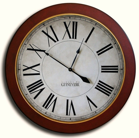 Large Wall Clock 30in Manchester Linen W Frame By