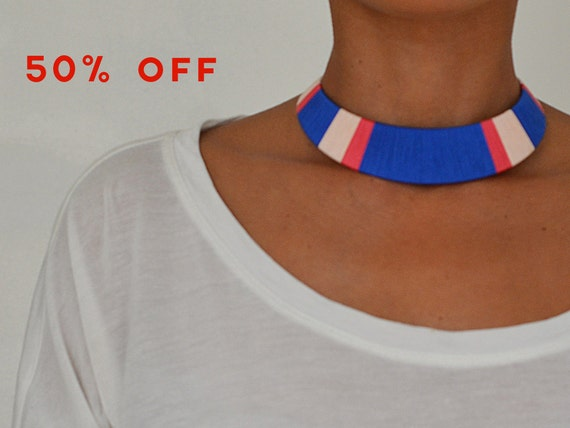 Blue and Pink Thread Bib Statement Necklace - no. 701K