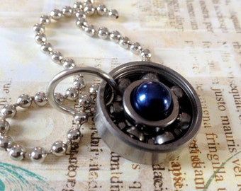 FREE SHIPPING - personalized upcycled roller derby bearing necklace