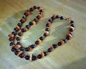 Necklace Red Aventurine Gemstones, Wood and Copper Beads and Lobster Clasp 24 Inches